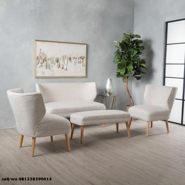 Set Kursi Tamu Sofa Sandaran Lengkung